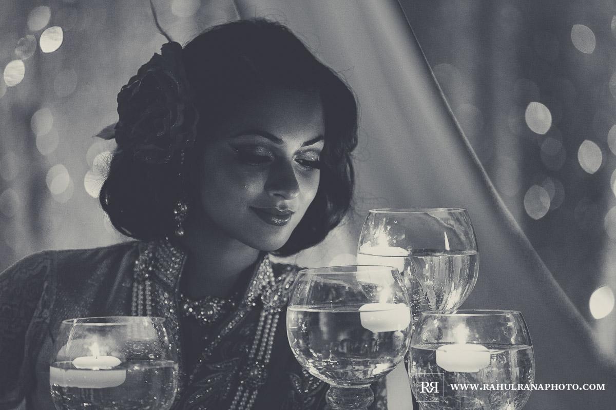 Elegance Decor Candles - Palmer House Hilton Chicago - Indian Wedding Reception - Rahul Rana Photography
